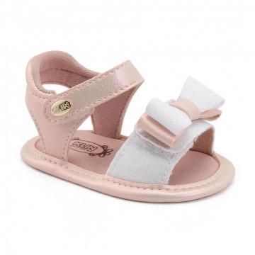 Sandália Bebê Klin 455 Rosa/Branco
