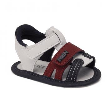 Sandália Bebê Klin 544 Branco/Marinho/Vermelho