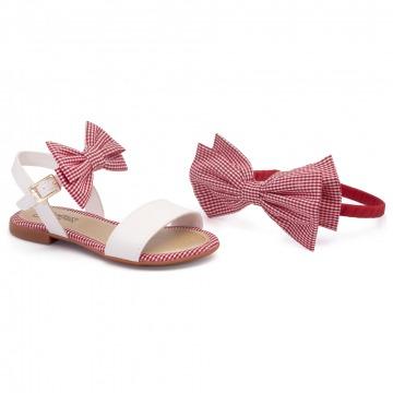 Sandália Infantil Klin Suami Mini 063 Branco/Vermelho