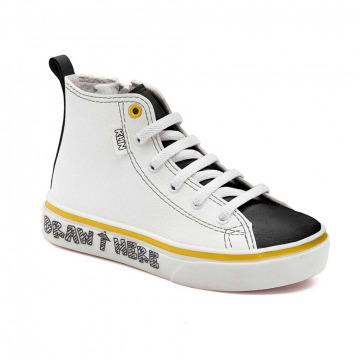 Tênis Infantil Klin Baby Style Colorir 039 Branco/Preto/Amarelo