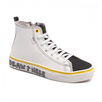Tênis Infantil Klin Freestyle Colorir 057 Branco/Preto/Amarelo